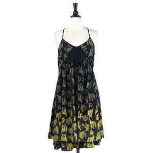 MYSTREE Tropical Print Layered Dress